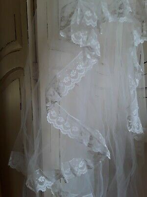 Vintage Veil White Wedding Cathedral Net Brides Veil Lace Edging Double Layer