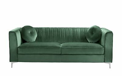 Green Living Room Sofa Large Sleek Wooden Frame Silver Legs Round Accent Pillows