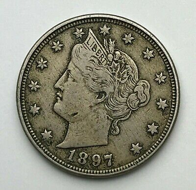 Dated : 1897 - American - Liberty Nickel - 5 Cents Coin - America - USA