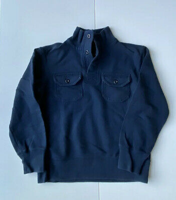 Lands End Boys Navy Pullover Cotton 1/4 Button Holiday Small S 8