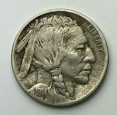 Dated : 1914 - American - Buffalo Nickel - 5 Cents Coin - America - USA