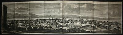1700 Chios city Panorama view map Greece engraving Kupferstich Bruyn Brujin