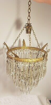 Vintage 3 Tier Icicle Waterfall Crystal Drop Chandelier Light Fitting