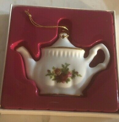 Vintage 1962 Royal Albert Fine China Old Country Roses Teapot Ornament