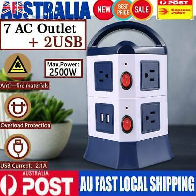 AU Plug 7 Ways Power Board Outlets Socket 2 Level vertical socket 2USB Rotatable