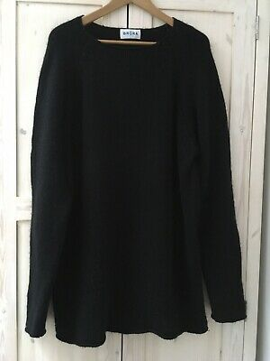 Brora Ladies Black 100% Cashmere Jumper Chunky Knit XL 16 18 Boat Neck