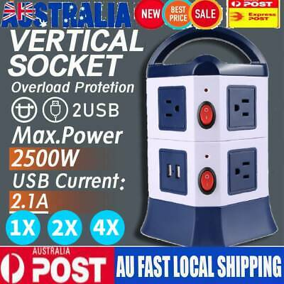 1/2/4x 7 Ways Power Board Outlets Socket 2 Level vertical socket 2USB Rotatable