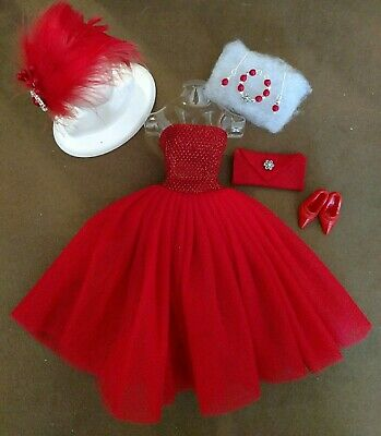 Vintage BARBIE FASHION RED PARTY DRESS PURE MINT!   FREE EXTRAS  XMAS SPECIAL!