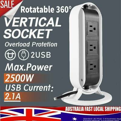 AU Plug 5 Ways Power Board Outlets Socket 2 Level vertical socket 2USB Rotatable