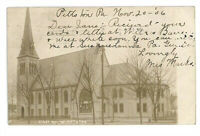 RPPC First ME Church WEST PITTSTON PA Luzerne County Real Photo Postcard