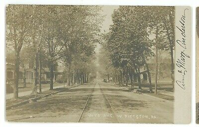 RPPC Wyoming Avenue Trolley WEST PITTSTON PA Luzerne County Real Photo Postcard