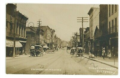 RPPC Main Street from Market PITTSTON PA Luzerne County Real Photo Postcard