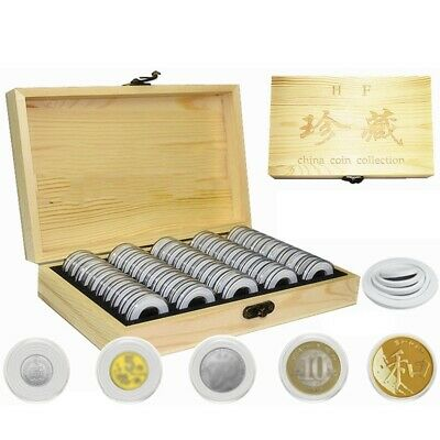 Wood Coins Display Storage Box Case for Collectible Coin 20/50/100 Capsule &dd
