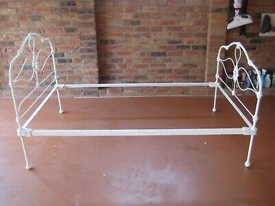 Cast Iron Off White Antique King Single Bed