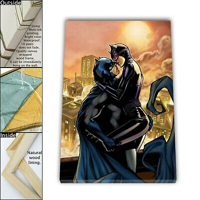 "16""x24""Batman and catwoman kiss HD Canvas print Framed Home Decor Wall art photo"
