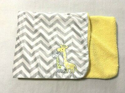 Carters Just One You Yellow Gray White Giraffe Chevron Sherpa Baby Blanket
