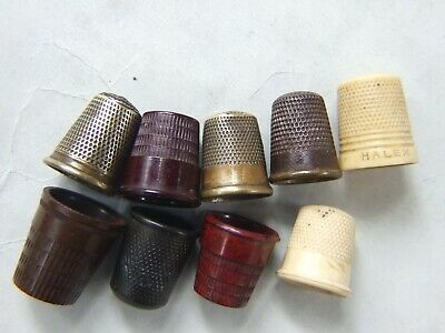 9 X Vintage Thimble Collection Brass, Bakelite Metal Art Deco Sewing Collectable