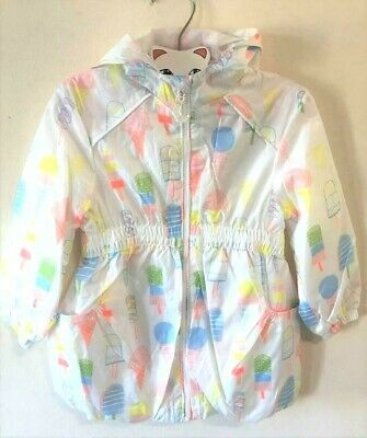 New Girls Lightweight Raincoat Showerproof Icecream Design - Exstore - 2-5 Yrs