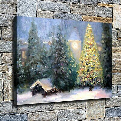 """12""""x16""""Christmas tree cabin HD Canvas print Home decor Wall art painting picture"""