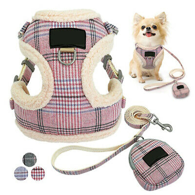 Cute Plaid Small Dog Harness & Lead Chihuahua Pet Mesh Liner Vest with Treat Bag