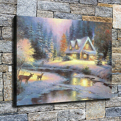 "12""x16""Christmas Eve cottage HD Canvas print Home decor Wall art paintings photo"