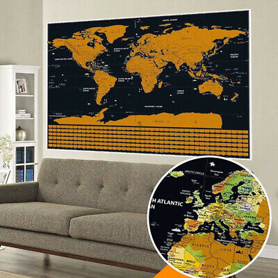 Deluxe Large Scratch Off World Map Personalized Travel Poster Black Atlas Decor