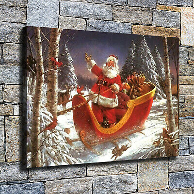 "12""x18""Santa Claus sleigh in the woods HD Canvas print Home decor Wall art photo"