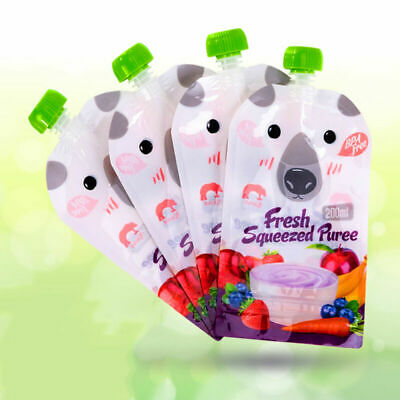 HOHAN 8pcs Reusable Resealable Squeezes Food Pouch Storage Bags Baby Food 200ML