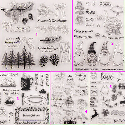 Christmas House Transparent Silicone Clear Stamps DIY Art Snowman Bird Tree Elk