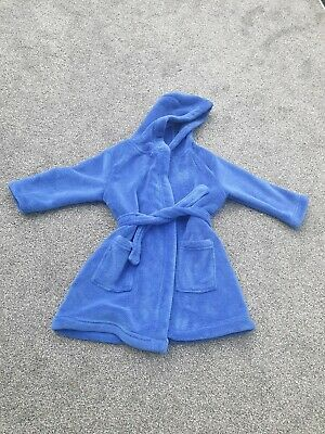 Boys Dressing Gown Toddler 2-3 Years  Blue cozy soft hooded autumn winter robe