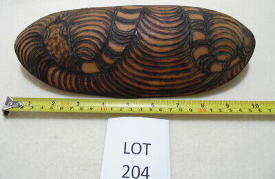 Vintage Aboriginal coolamon - hand made - mulga wood - snake pattern