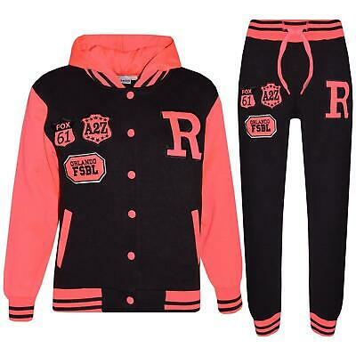 Kids Girls Boys Hooded Baseball Varsity Neon Pink Tracksuit Hoodie Bottom Jogger