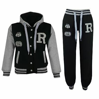 Kids Girls Boys Hooded Baseball Varsity Black Tracksuit Hoodie Bottom Set Jogger