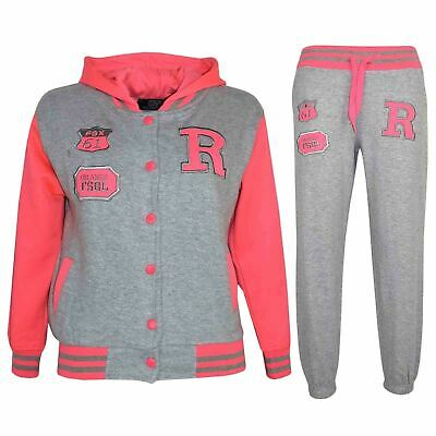 Kids Girls Boys Hooded Baseball Varsity Grey Tracksuit Hoodie Bottom Set Joggers