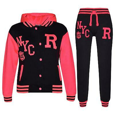Kids Girls Boys Hooded NYC Baseball Varsity Neon Pink Tracksuit Hoodie & Bottom