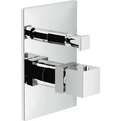Cube Part External Mixer Thermostatic Recess Shower with Diverter Chrome N
