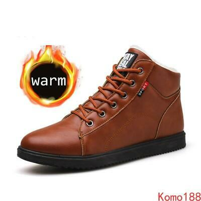 Mens British Style Ankle Boots warm lace up Comfort Fur plush lined Waterproof