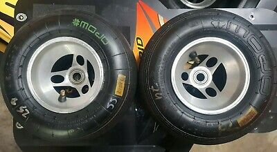 Pair of Front Kart Wheels With Mojo D2 Tyres  - 130mm (outside to outside)