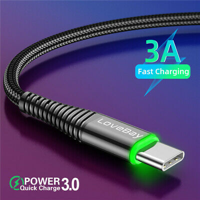 LED Long Braided Quick Charging USB C Cable 3A Phone Data Charger Type C Adapter