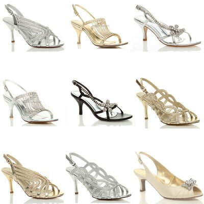 Womens Ladies Mid High Heel Slingback Diamante Wedding Prom Sandals Shoes Size
