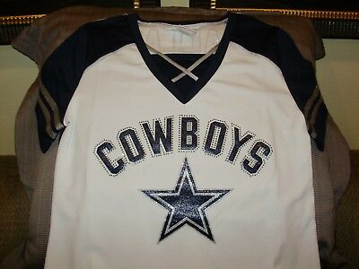 NFL Dallas Cowboys Sparkle Bling Rhinestones Fitted Jersey Shirt Women's XL