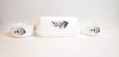 Vintage Covered Butter Dish Flowers Floral Europe White Green Daisy w/ 2 Bowls