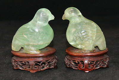 Antique Pair of Hand Carved Green Jade Birds Sculpture with Wooden Stands