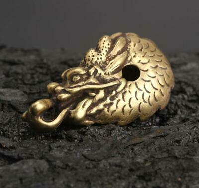 Chinese Collection old Asian antique collection pure brass zodiac dragon pendant