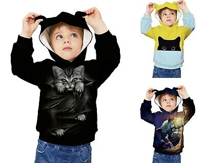 Childrens Kids Girls Boys Unisex Cute Casual Kitty Cat Kitten Sweatshirt Hoodie
