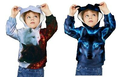 Childrens Kids Girls Boys Unisex Casual Supernatural Wolf Graphic Sweater Hoodie