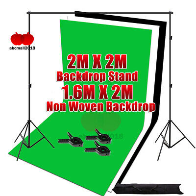 Photo Studio Black White Chroma Key Green Screen Backdrop Background Stand Kit