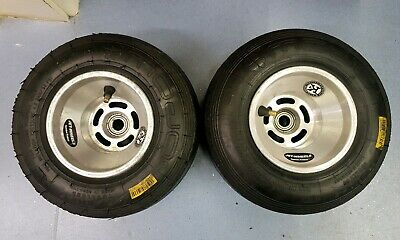 Pair of Front Jet Kart Wheels - 130mm Width - Mojo D2 Tyres - Good Condition