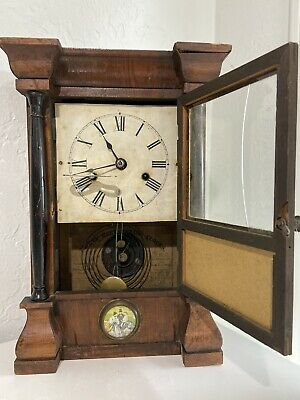 One Of A Kind Antique Seth Thomas Shelf Clock w/Portrait Watercolor Painting