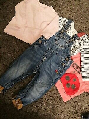 Excellent Condition NEXT Baby Girl Dungarees + tops Outfit Bundle 6-9months